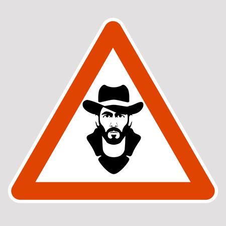 A man black silhouette road sign vector illustration profile Illustration