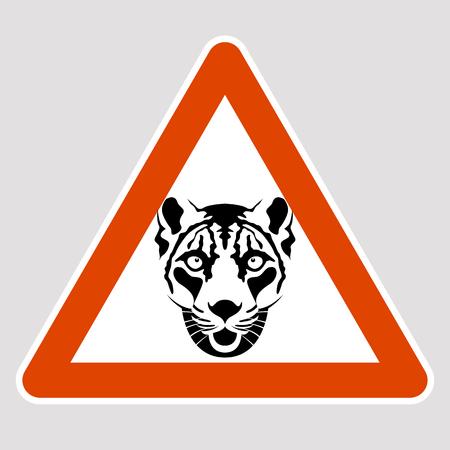 A leopard black silhouette road sign vector illustration profile