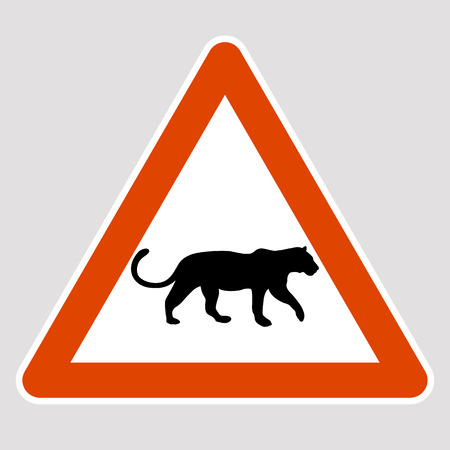 A leopard black silhouette road sign vector illustration profile
