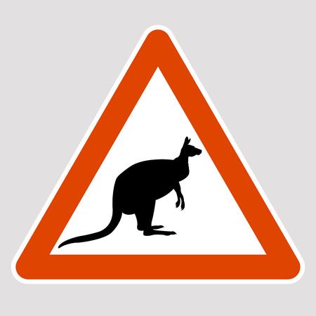 A kangaroo black silhouette road sign vector illustration profile