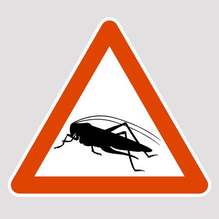 A grasshopper black silhouette road sign vector illustration profile