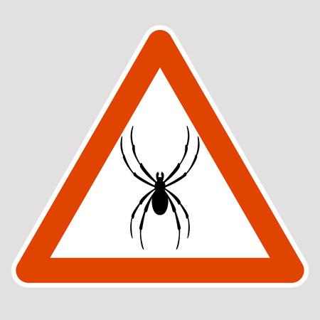 A spider black silhouette road sign vector illustration profile Illustration