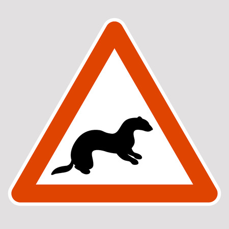 Weasel black silhouette road sign vector illustration profile Illustration