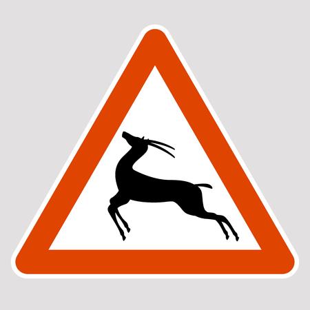 Antelope black silhouette road sign vector illustration profile
