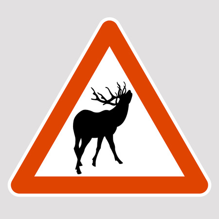 Elk black silhouette road sign vector illustration profile