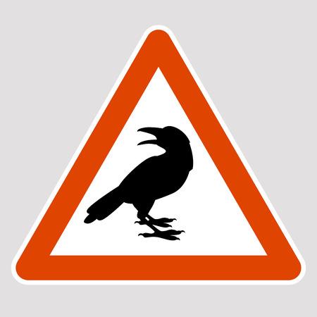 Crow black silhouette road sign vector illustration profile
