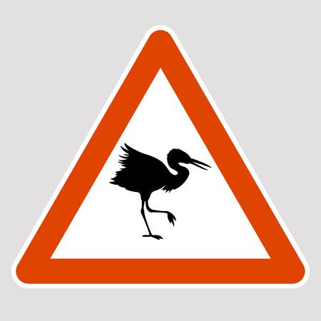 Spoonbill bird black silhouette road sign vector illustration profile
