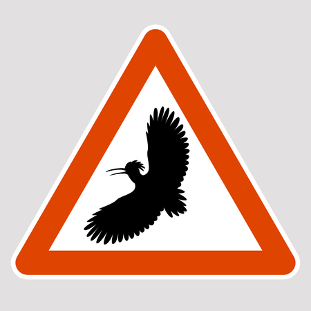Hoopoe black silhouette road sign vector illustration profile