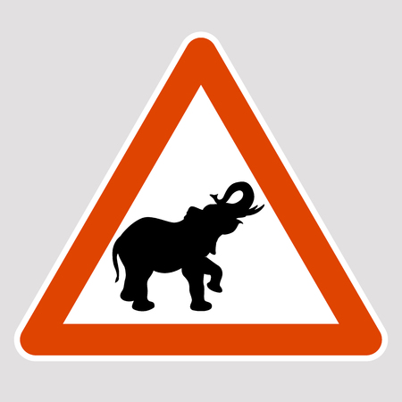 Elephant black silhouette road sign vector illustration profile