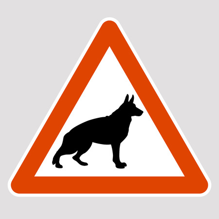 Dog black silhouette road sign vector illustration profile