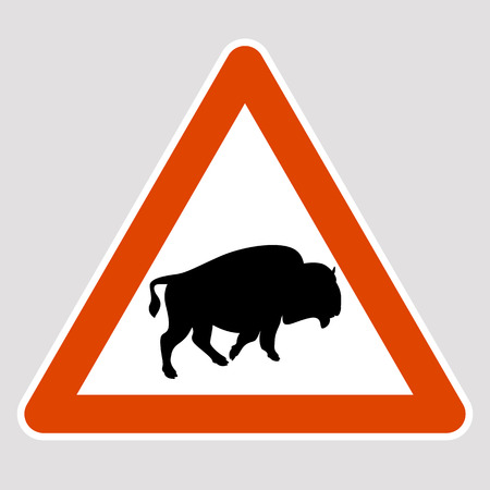 Bull black silhouette road sign vector illustration profile