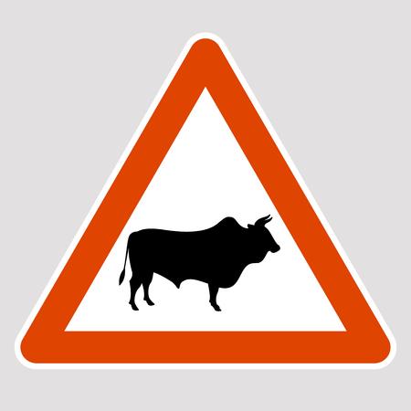 Bull black silhouette road sign vector illustration profile