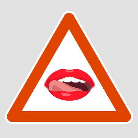 Lips road sign vector illustration flat