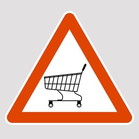 Trolley supermarket black silhouette road sign vector illustration