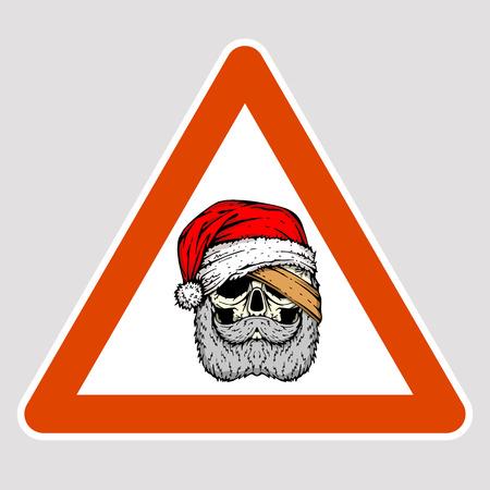 Santa face road sign vector illustration flat style