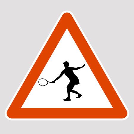 Tennis player black silhouette road sign vector illustration 일러스트