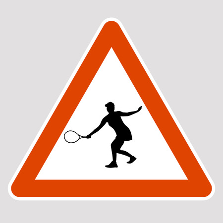 Tennis player black silhouette road sign vector illustration Vettoriali