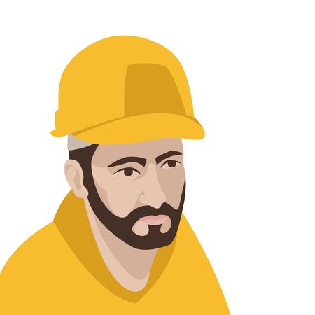 Worker in helmet head vector illustration flat style profile Illustration