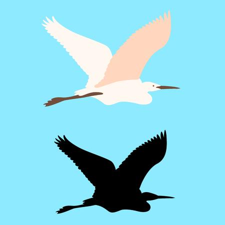A heron vector illustration flat style black silhouette set