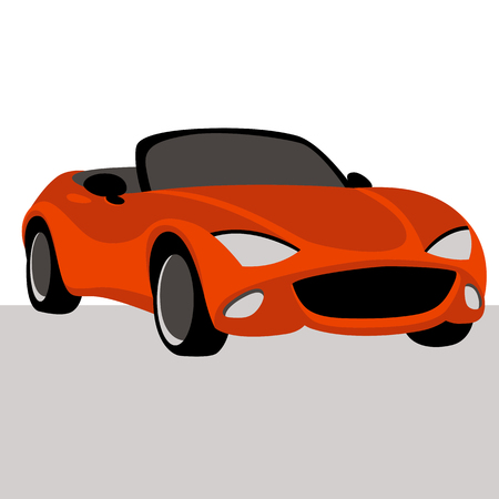 red car stylized vector illustration flat style side