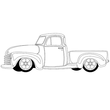 classic pickup truck vintage vector illustration line drawing Stock Illustratie