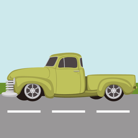 classic pickup truck vintage vector illustration flat style Illustration