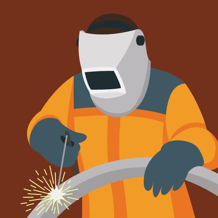 welder man  vector illustration flat style side front Illustration