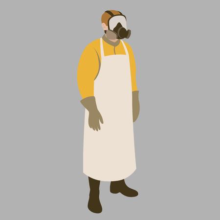 Man in protective clothing vector illustration flat style.