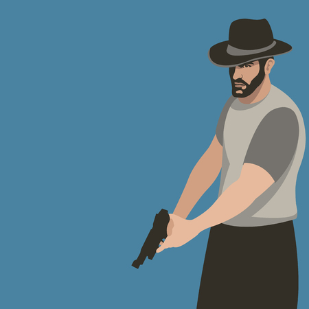 a man with a gun vector illustration flat style profile side Stock Illustratie