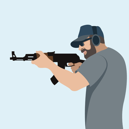 a man with a gun vector illustration flat style profile side Illustration
