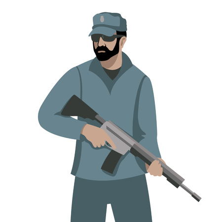 a man with a gun vector illustration flat style  front  side