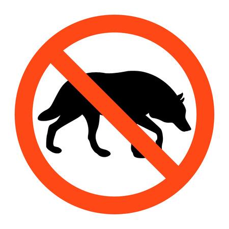 Warning no wolf sign ,vector illustration on white background Illustration
