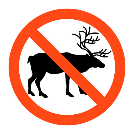 warning no   deers sign ,vector illustratioon on white background Illustration
