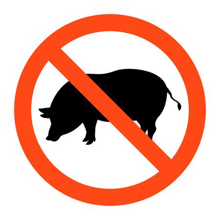 Warning no pig sign ,vector illustration on white background