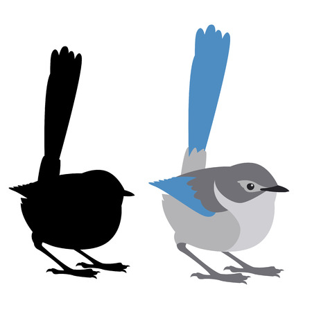 fairy wren bird vector illustration flat style black silhouette profile