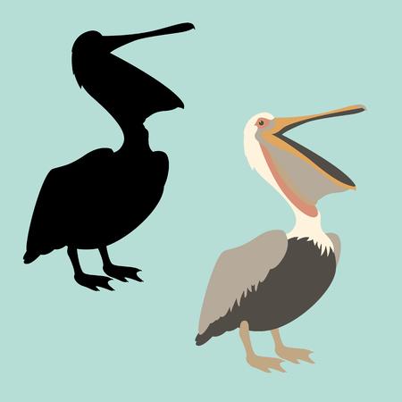 pelican vector illustration flat style black silhouette profile Ilustração
