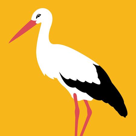 Bird stork vector illustration flat style profile side.