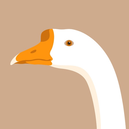 Goose head vector illustration flat style profile side.