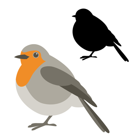 robin bird vector illustration flat style black silhouette