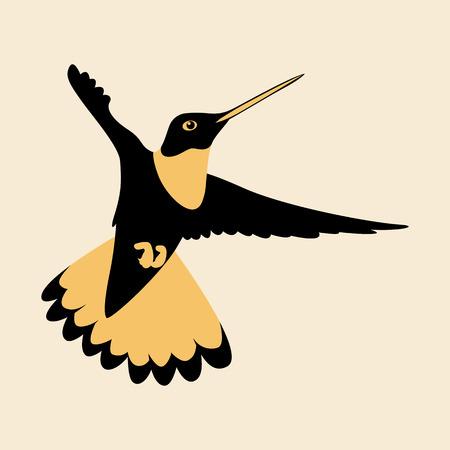 Hummingbird vector illustration flat style profile side.