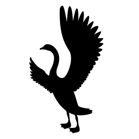 A swan bird vector illustration black illustration profile side