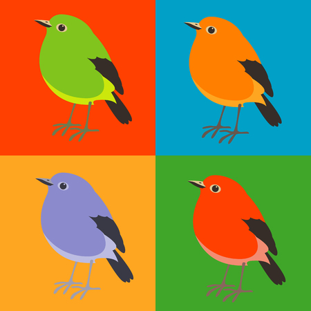robin vector illustration flat style profile side  set Illustration