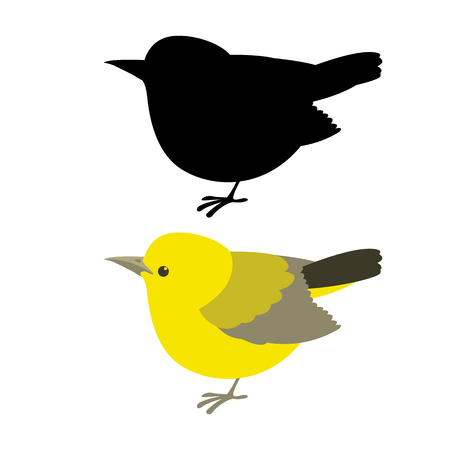 warbler  vector illustration flat style profile side black silhouette
