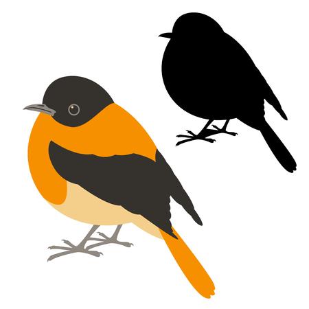 robin vector illustration flat style profile side black silhouette