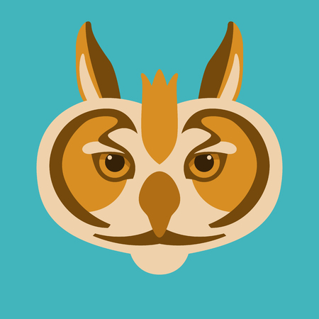 owl  head  face vector illustration flat style front side