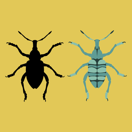 bug vector illustration flat style black silhouette set