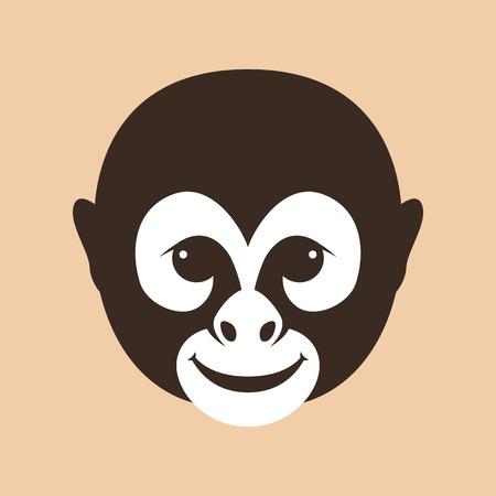 Monkey face head vector illustration flat style front side 矢量图像
