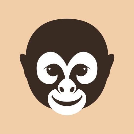 Monkey face head vector illustration flat style front side Illustration