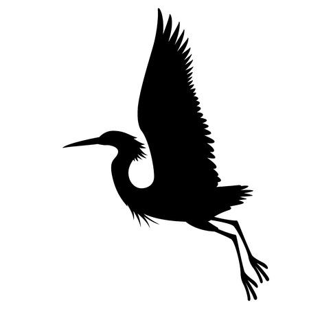 鳥サギベクトルイラストプロファイルサイドブラックシルエット