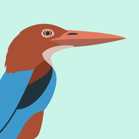 kingfisher bird vector illustration flat style profile side